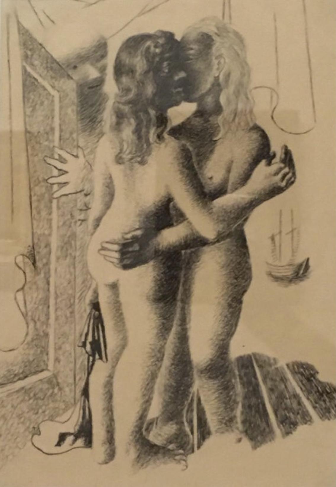 Di Duas figuras femininas com paisagem ao fundo grafite e nanquim sobre papel 1928.jpg