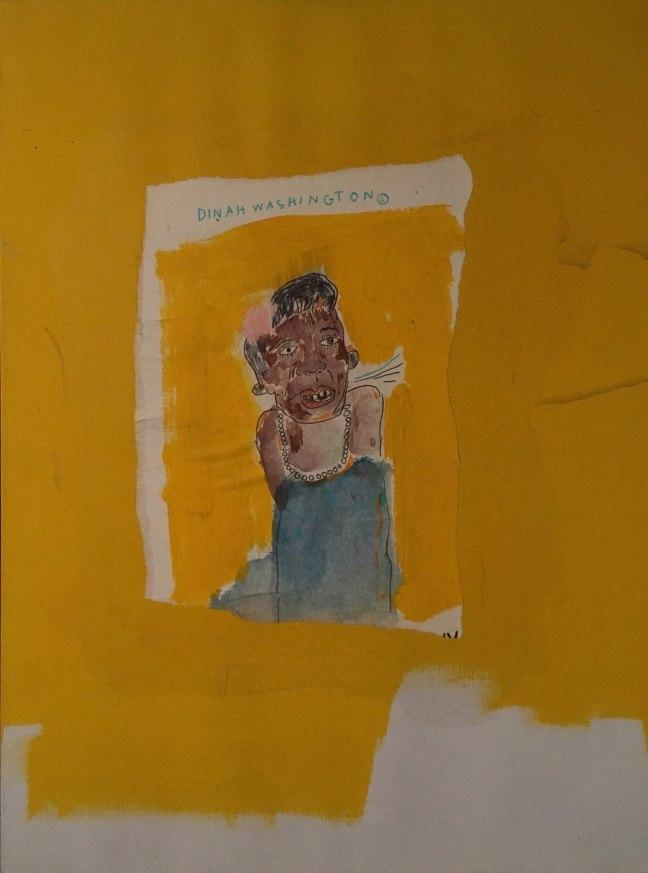 basquiat dinah Washington 1986 acrílica lápis de cor aquarela colage-1