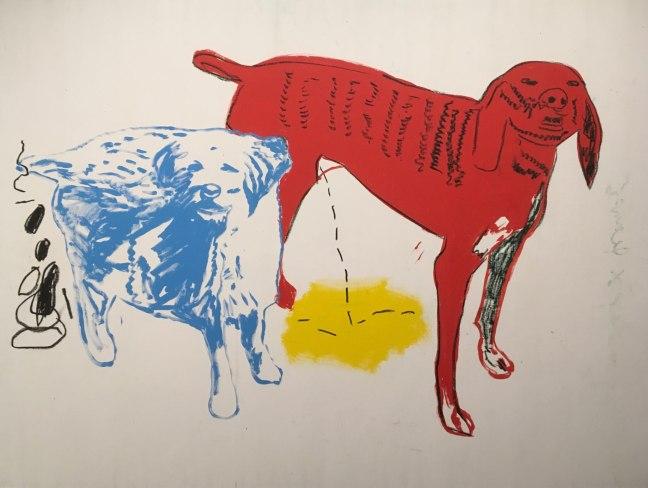 basquiat warhol dois cães acrílica tinta para serigrafia sobre tela 1984-1